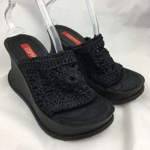 Vintage 90s sandals chunky platform crochet black